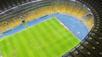Football soccer game at stadium, sporting event, aerial view
