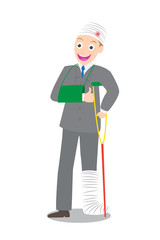 smile injured businessman in bandages with crutches vector