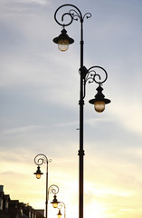 The retro-styled lamppost on the street of Warsaw, Poland
