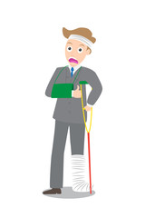frown injured businessman in bandages with crutches vector
