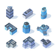 Vector isometric business city center buildings set