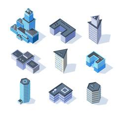 Vector isometric business city center buildings set