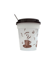 plastic disposable cup for coffee,isolated