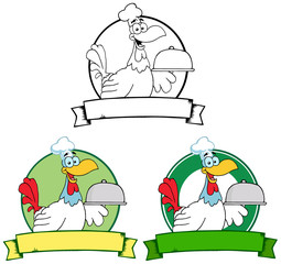 Rooster Chef Serving A Platter Over A Circle Banner. Collection