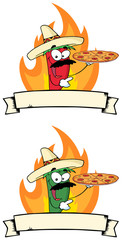 Chile Pepper Holds Up Pizza In Flame Cartoon Banner. Collection