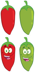 Smiling Chili Pepper Cartoon Character. Collection Set