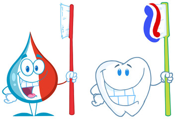 Toothpaste And Tooth With Toothbrush Character. Collection