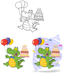 Birthday Crocodile Holding Up A Birthday Cake. Collection Set