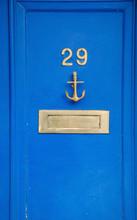 "Постер, картина, фотообои ""Blue wooden doors"""