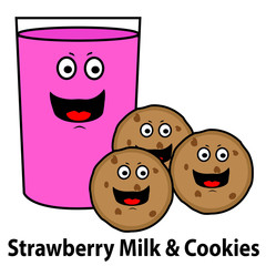 Glass of Strawberry Milk & Chocolate Chip Cookies
