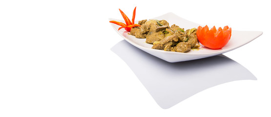 Deep fried chicken liver mix with curry powder
