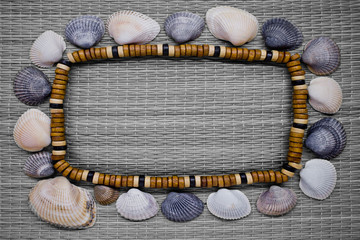 frame with beads and shells