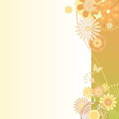 Floral  background in greenish-orange