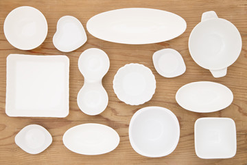 White porcelain dishes