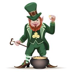 Joyful  leprechaun with a cauldron