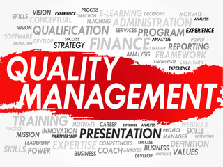 Word cloud of Quality Management related items, vector