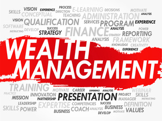 Word cloud of Wealth Management related items, vector