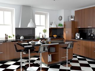 Küche mit Fliesenboden