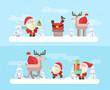 Merry christmas. Vector Santa set. eps10