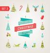 Christmas retro icons, logo, elements and illustrations eps 10