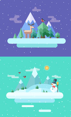 Winter nature.  Christmas time. Vector flat illustrations
