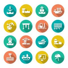 Set flat icons of seaport