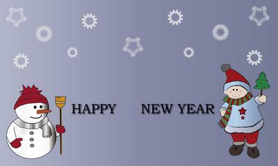 Muñeco de nieve y niño con Happy new year.