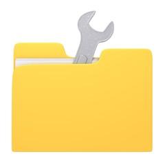 Folder and wrench 3d illustration