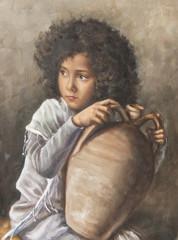 ritratto ad olio di una giovane con una brocca sulle gambe