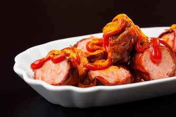Closeup einer Currywurst