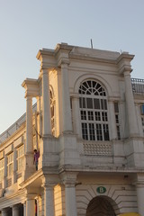Architectural detail at sunset of a modern Palace in New Delhi