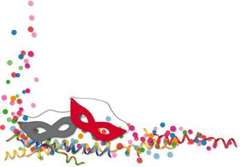 Karneval - Konfett, Luftschlangen und Maske. Vektor