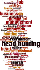 Head hunting word cloud concept. Vector illustration