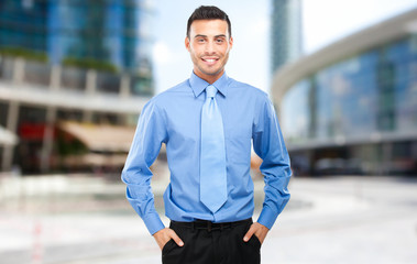Smiling business man outdoor