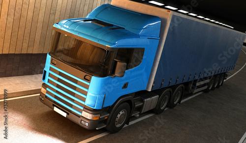 canvas print picture Tir, camion, trasporti, merci, truck