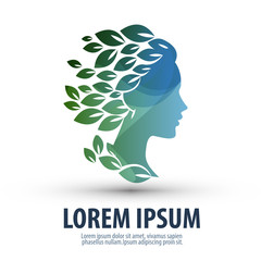 Beautiful girl with hair in the form of leaves. Logo, icon