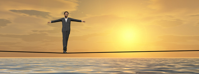 Conceptual business man on rope banner