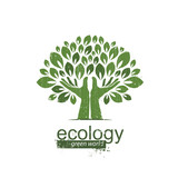 tree and hands. Logo, icon. Vector illustration