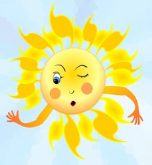 Cheerful cartoon of surprised winking sun with hands