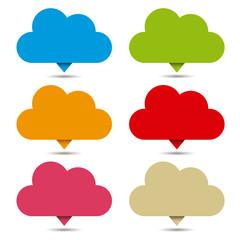 Set pins o pancartas de nubes
