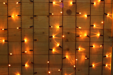 Light on wood glowing background