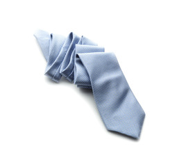 Light-blue necktie on a white