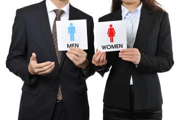 男女の看板を持っているビジネスマン