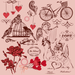 Collection of vintage decorative Valentine's day elements