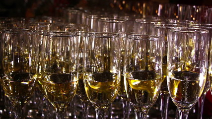Glasses with champagne ready for a party