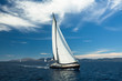 Yachting. Boat in sailing regatta. Luxury yachts.