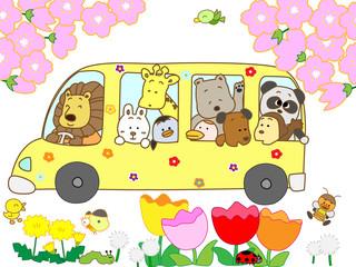 春の観光バス