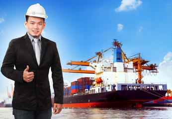 business man and comercial ship with container on port use for i