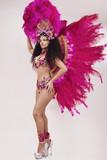 Samba dancer wearing traditional pink costume