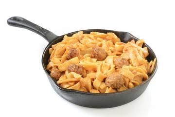 Swedish meatballs on pasta